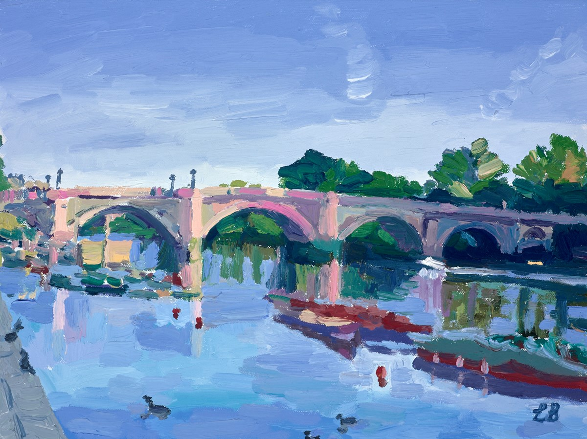 Weekend Walk by the River by leila barton -  sized 16x12 inches. Available from Whitewall Galleries